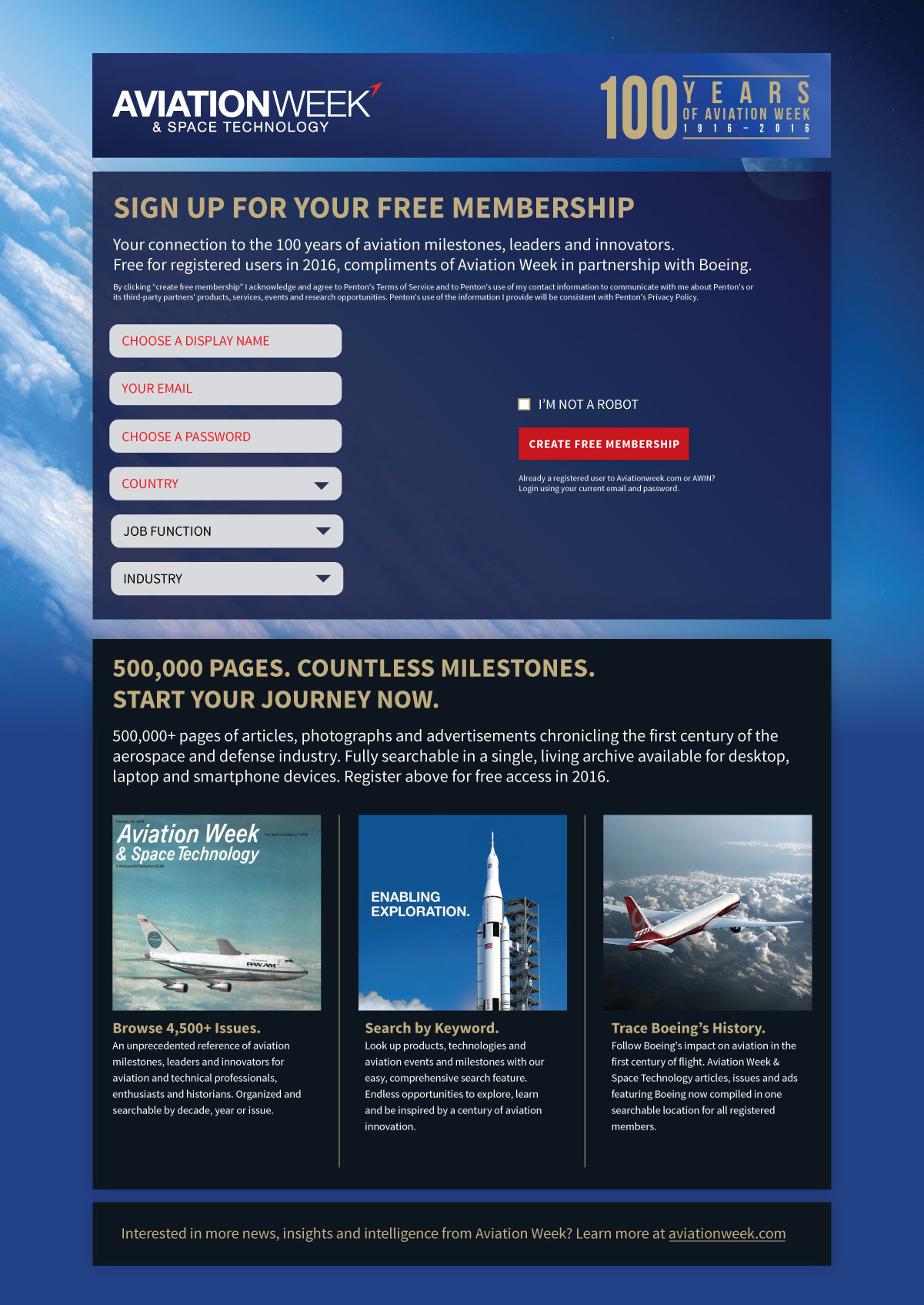 Aviation Week Archive website design