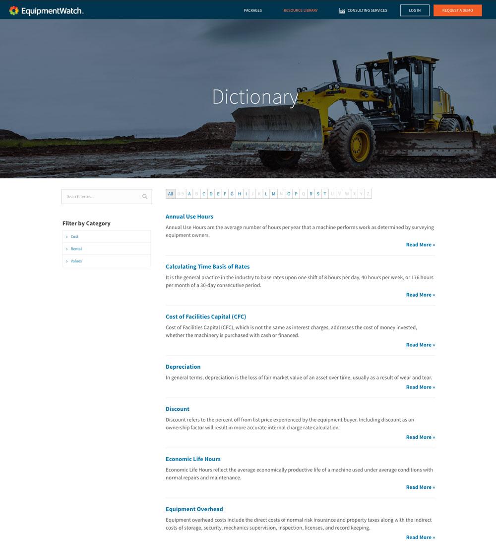 EquipmentWatch Website Dictionary