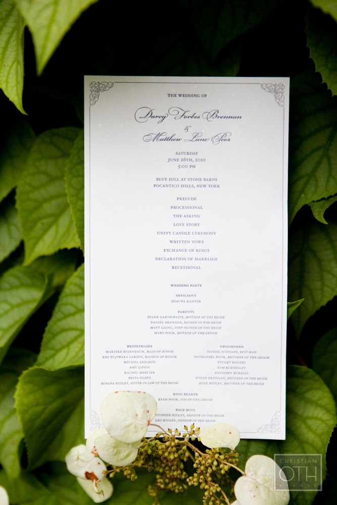 Brennan Wedding Program