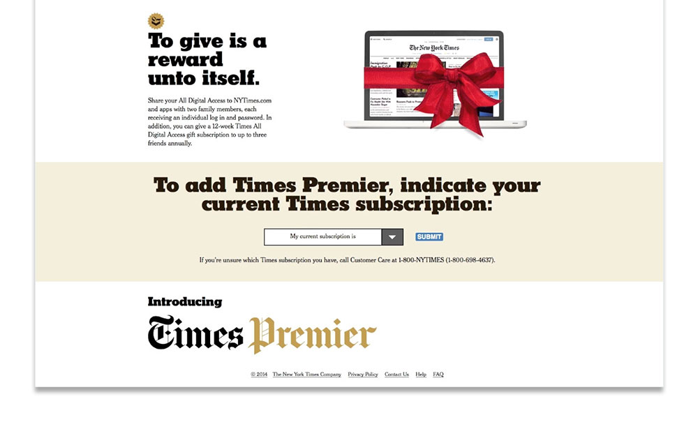 NY Times Premiere Website